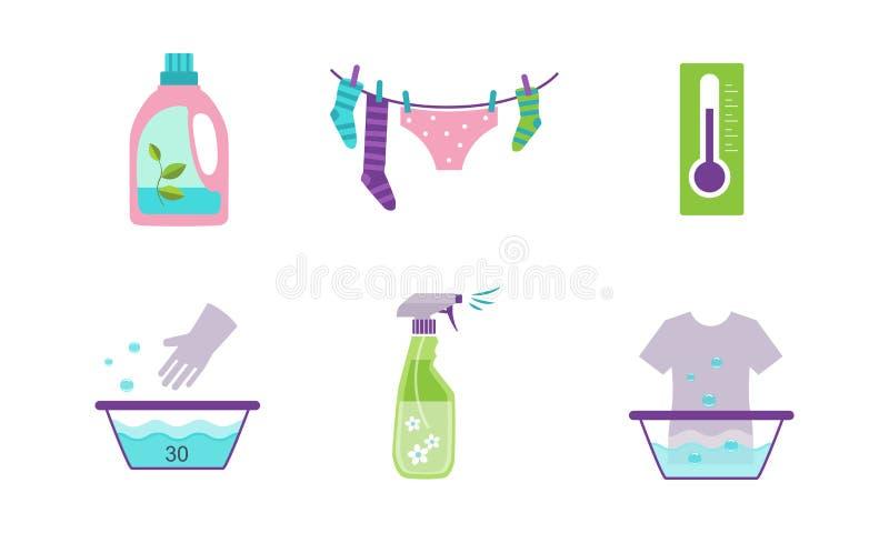 Το σύνολο, ο εξοπλισμός και οι εγκαταστάσεις πλυντηρίων για την πλύση ντύνουν τη διανυσματική απεικόνιση σε ένα άσπρο υπόβαθρο απεικόνιση αποθεμάτων
