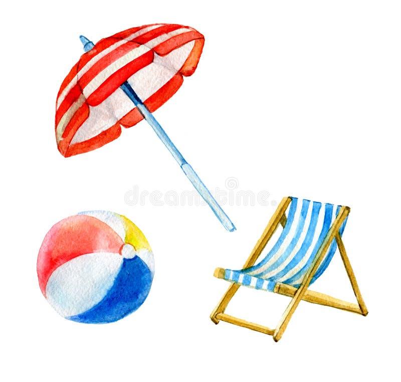 Το σύνολο παραλίας, καλοκαίρι αντιτίθεται, ομπρέλα, σφαίρα, καρέκλα που απομονώνεται στο άσπρο υπόβαθρο, watercolor απεικόνιση αποθεμάτων