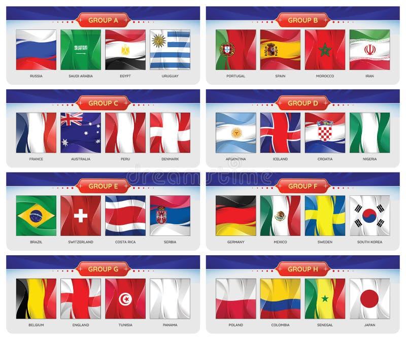 Το σύνολο ποδοσφαίρου ή ποδοσφαίρου ομάδας εθνικών σημαιών ομαδοποιεί το Α - Χ ελεύθερη απεικόνιση δικαιώματος