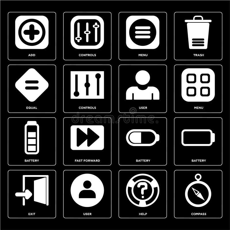 Το σύνολο πυξίδας, βοήθεια, έξοδος, μπαταρία, χρήστης, ίσος, επιλογές, προσθέτει το εικονίδιο διανυσματική απεικόνιση