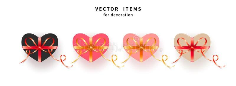 Το σύνολο ροζ και καρδιάς διαμόρφωσε το κιβώτιο δώρων με τα χρυσά και κόκκινα τόξα με τις κορδέλλες επίσης corel σύρετε το διάνυσ ελεύθερη απεικόνιση δικαιώματος