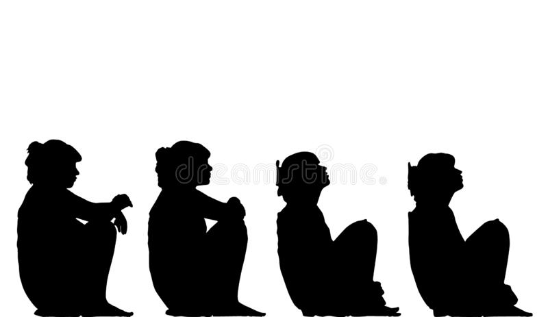 Το σύνολο σκιαγραφιών ενός κοριτσιού σε ένα φόρεμα με την τρίχα σύλλεξε σε μια ουρά που κάθεται να καθίσει οκλαδόν αγκαλιάζοντας  διανυσματική απεικόνιση