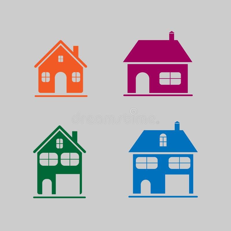 Το σύνολο σπιτιού σκιαγραφεί για να δημιουργήσει ένα λογότυπο για μια επισκευή, construc ελεύθερη απεικόνιση δικαιώματος