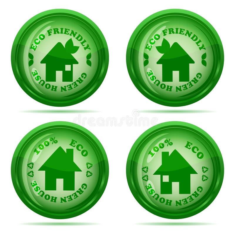 το σύνολο στιλπνών πράσινων εικονιδίων σπιτιών απομονώνει απεικόνιση αποθεμάτων