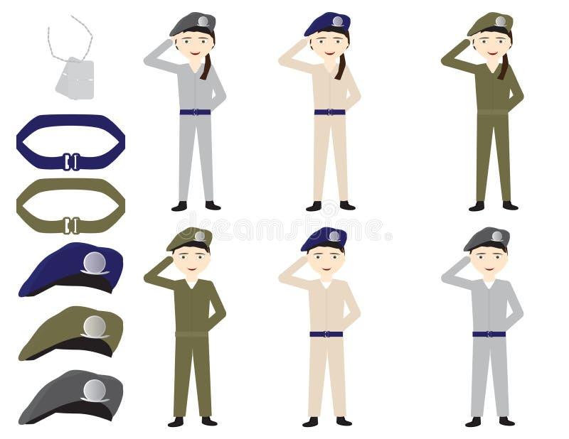 Το σύνολο στρατιωτών κινούμενων σχεδίων, οι ζώνες, τα καπέλα και η ταυτότητα κολλούν στο άσπρο υπόβαθρο διανυσματική απεικόνιση