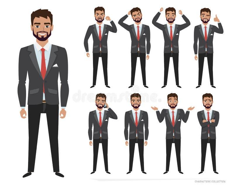 Το σύνολο συγκινήσεων και θέτει για το επιχειρησιακό άτομο Το αρσενικό σε ένα ύφος κινούμενων σχεδίων δοκιμάζει τις διαφορετικές  απεικόνιση αποθεμάτων