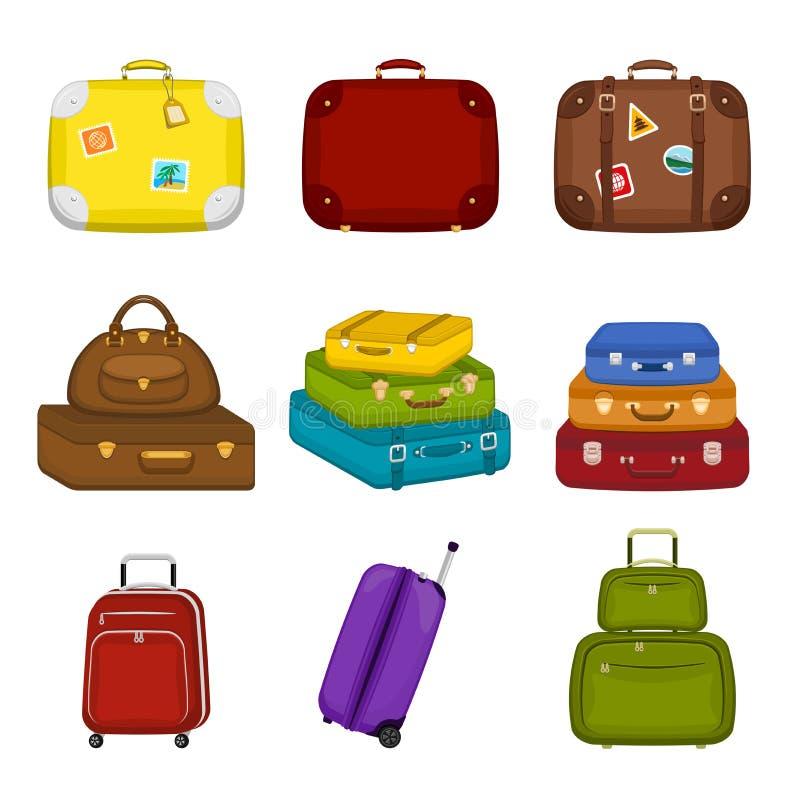Το σύνολο ταξιδιού σωρών τοποθετεί τις βαλίτσες με τις αυτοκόλλητες ετικέττες στο απομονωμένο άσπρο υπόβαθρο σε σάκκο Διακινούμεν απεικόνιση αποθεμάτων