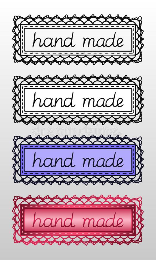 """Το σύνολο τεσσάρων δίνει τα συρμένες λογότυπα ή τις ετικέτες με την επιγραφή """"χέρι - που γίνεται """"για τα δημιουργικά προϊόντα επα απεικόνιση αποθεμάτων"""