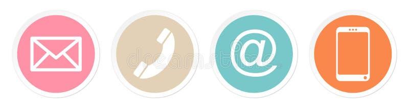 Το σύνολο τεσσάρων κουμπιών έρχεται σε επαφή με το αναδρομικό άσπρο πλαίσιο χρώματος διανυσματική απεικόνιση