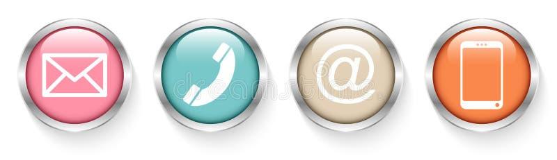 Το σύνολο τεσσάρων κουμπιών έρχεται σε επαφή με το αναδρομικό ασήμι διανυσματική απεικόνιση