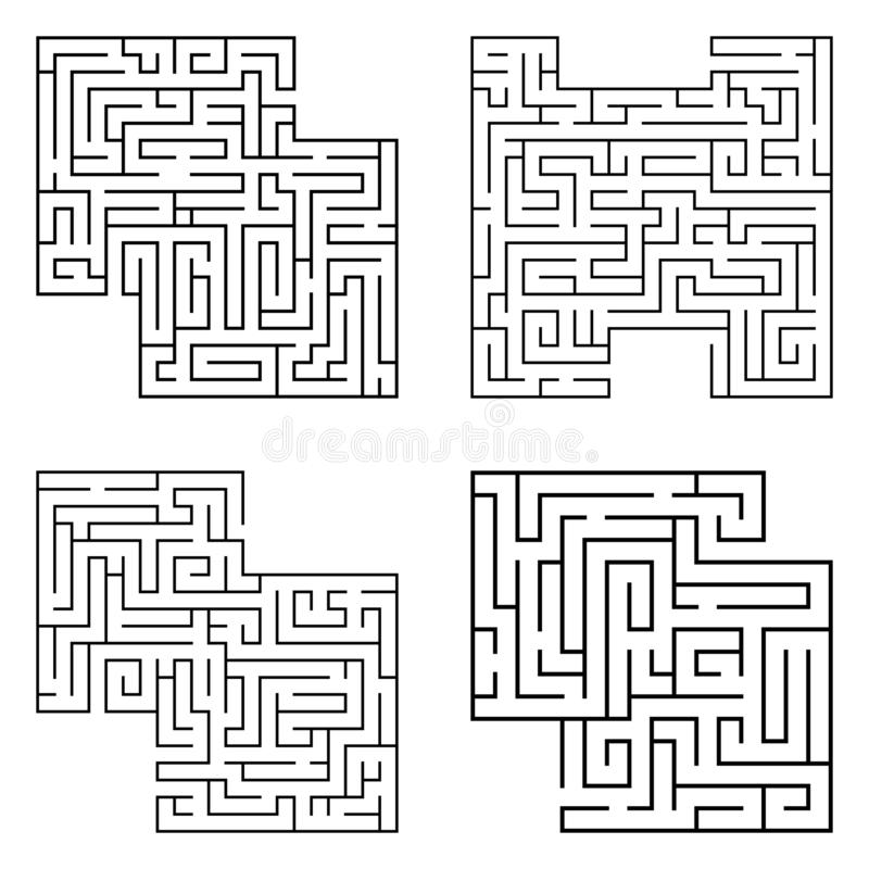 Το σύνολο τεσσάρων οι μαύροι λαβύρινθοι, πολυπλοκότητα αρχής λαβύρινθων στο άσπρο υπόβαθρο διανυσματική απεικόνιση