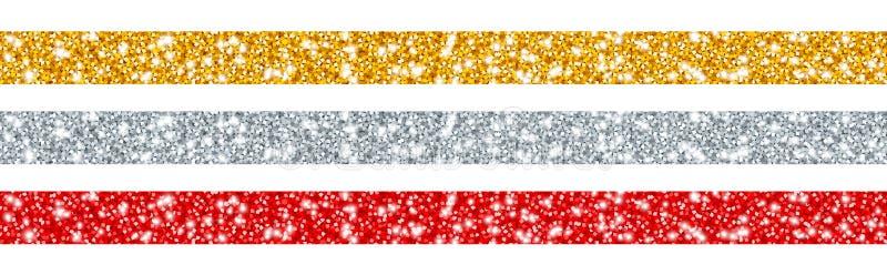Το σύνολο τριών ακτινοβολεί χρυσό ασημένιο κόκκινο κορδελλών διανυσματική απεικόνιση
