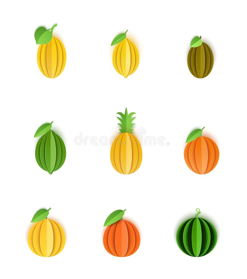 Το σύνολο τροπικών φρούτων στο έγγραφο έκοψε το ύφος Ολόκληρο πορτοκάλι εσπεριδοειδών, tangerine, ανανάς, ασβέστης, λεμόνι, γκρέι διανυσματική απεικόνιση