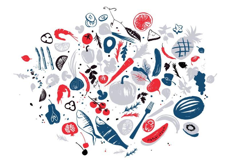 Το σύνολο τροφίμων αντιτίθεται: θαλασσινά, λαχανικά και φρούτα Υγιής κατανάλωση τρόπου ζωής Αγορά αγροτών απεικόνιση αποθεμάτων