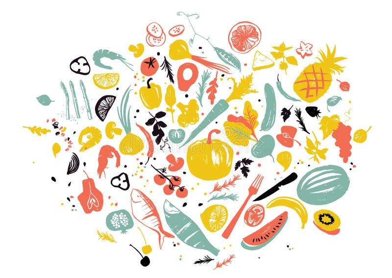 Το σύνολο τροφίμων αντιτίθεται: θαλασσινά, λαχανικά και φρούτα Υγιής κατανάλωση τρόπου ζωής Αγορά αγροτών ελεύθερη απεικόνιση δικαιώματος