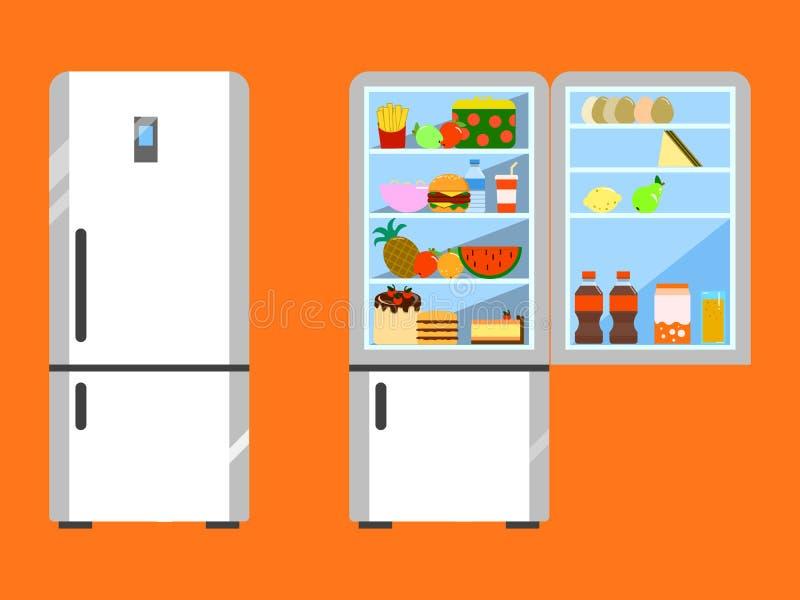 Το σύνολο των τροφίμων άνοιξε και κλείνει το ψυγείο Ψυγείο και φρούτα, ψυκτήρας και λαχανικό Επίπεδο σχέδιο απεικόνιση αποθεμάτων