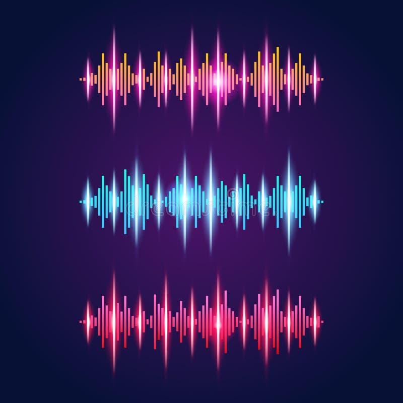 Το σύνολο φωτεινού πορτοκαλιού μπλε κόκκινου ακουστικού νέου εξισωτών τρία έθεσε με τα σύμβολα υγιών κυμάτων στο ιώδες υπόβαθρο π διανυσματική απεικόνιση