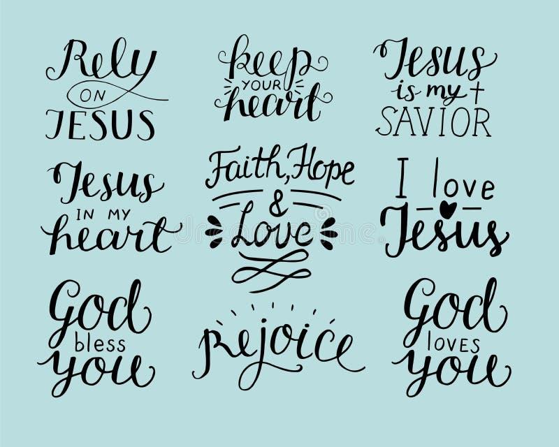 Το σύνολο χεριού 9 που γράφει το χριστιανικό Θεό αποσπασμάτων σας ευλογεί Στηριχθείτε στον Ιησού χαρείτε Πίστη, ελπίδα, αγάπη Κρα ελεύθερη απεικόνιση δικαιώματος