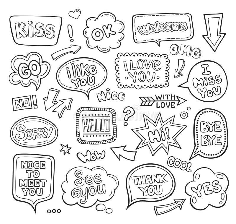 Το σύνολο χεριού που σύρεται σκέφτεται και μιλά τα λεκτικά μπαλόνια με τις φράσεις απεικόνιση αποθεμάτων