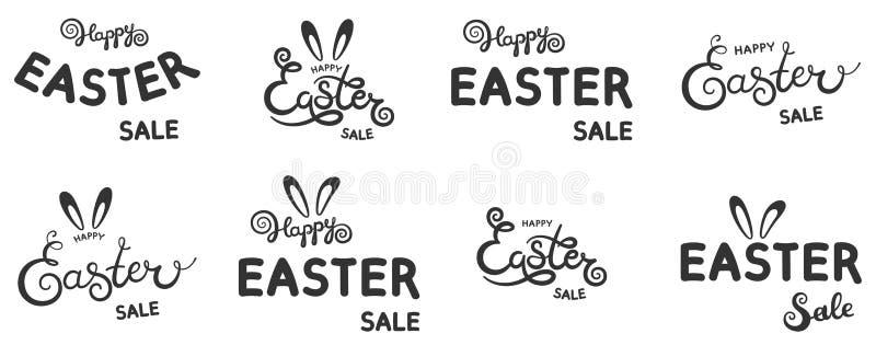 Το σύνολο χεριού σκιαγράφησε το ευτυχές κείμενο πώλησης Πάσχας ως Pascha logotype, εικονίδιο και bange Συρμένη κάρτα, αφίσα, πρόσ διανυσματική απεικόνιση