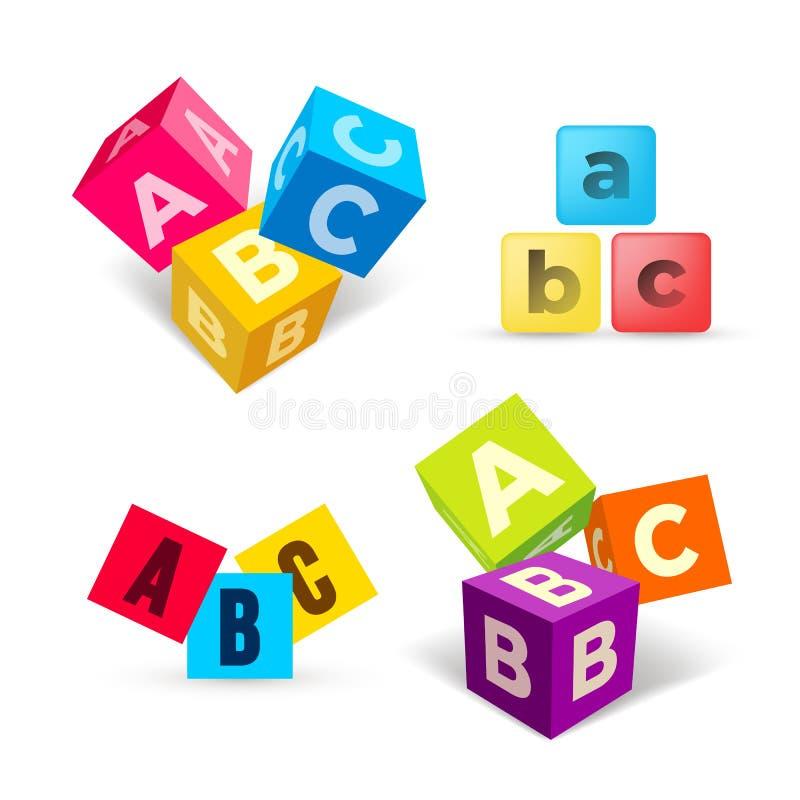 Το σύνολο χρώματος ABC εμποδίζει το επίπεδο εικονίδιο Κύβοι αλφάβητου με το Α, Β, επιστολές Γ στο επίπεδο σχέδιο r r διανυσματική απεικόνιση