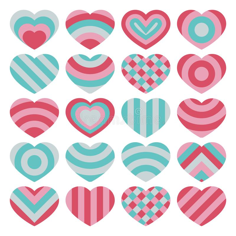 Το σύνολο όμορφου διανύσματος απομόνωσε τις ζωηρόχρωμες καρδιές βαλεντίνων στο άσπρο υπόβαθρο διανυσματική απεικόνιση