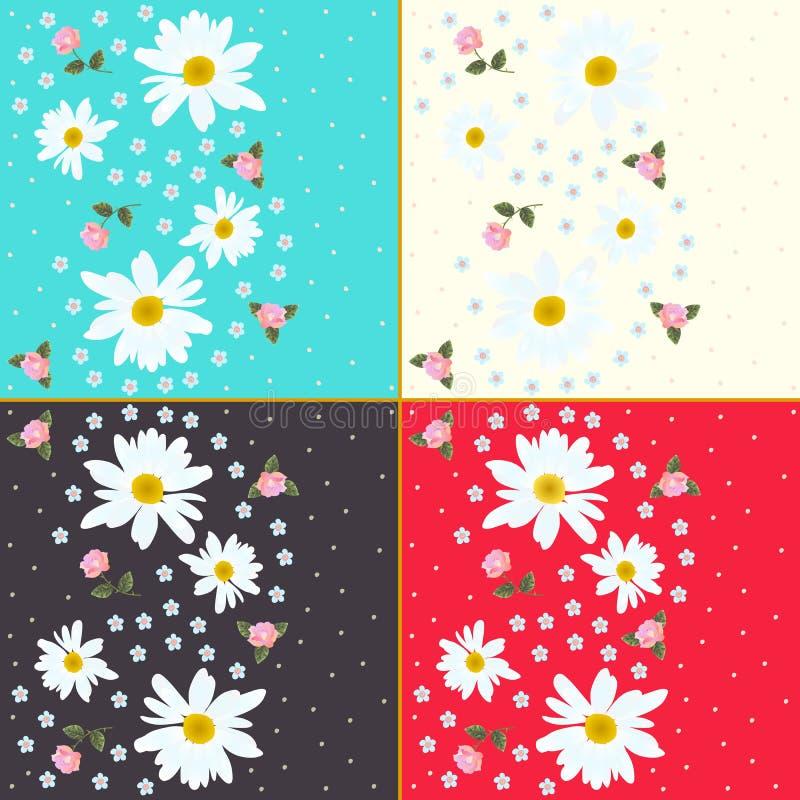 Το σύνολο όμορφων floral σχεδίων με τις μαργαρίτες, τριαντάφυλλα και με ξεχνά όχι λουλούδια διανυσματική απεικόνιση