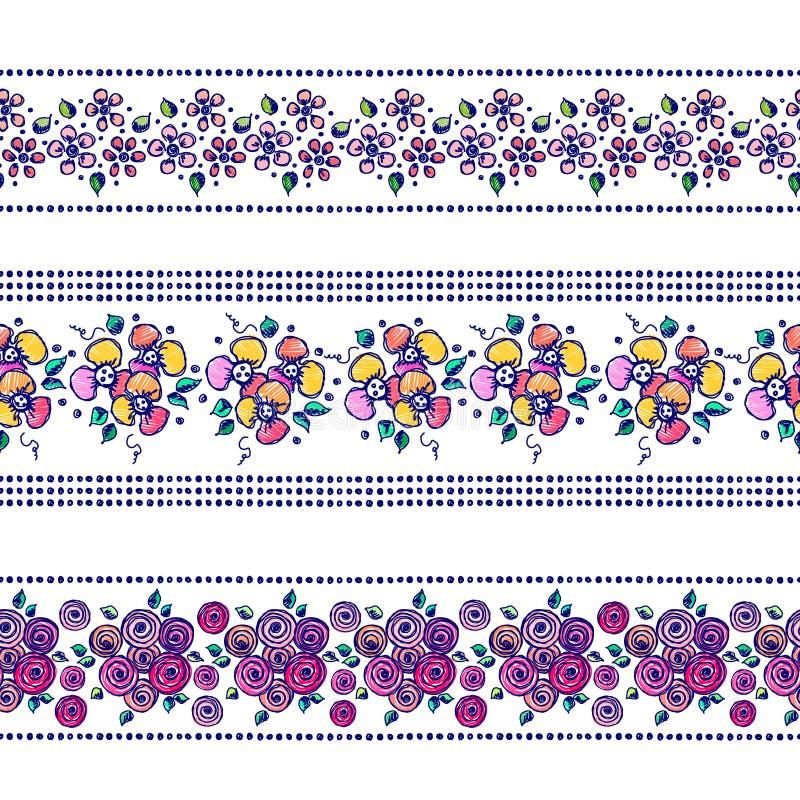 Το σύνολο άνευ ραφής διανυσματικών συρμένων χέρι floral σχεδίων, ατελείωτα σύνορα, πλαίσιο με τα λουλούδια, φεύγει Διακοσμητικό γ ελεύθερη απεικόνιση δικαιώματος