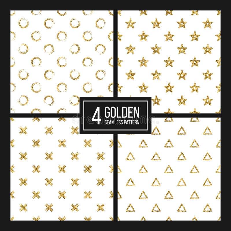 Το σύνολο άνευ ραφής χρυσού σχεδίων ακτινοβολεί σημεία Πόλκα, τρίγωνο, αστέρι, σταυρός διανυσματική απεικόνιση