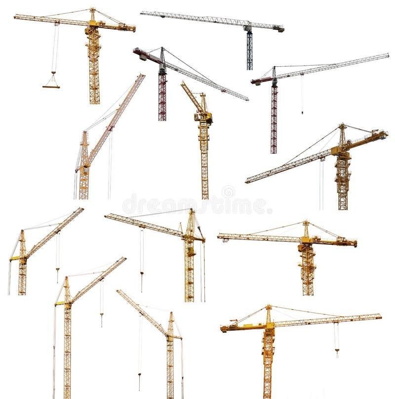 Το σύνολο δέκα τριών που ανυψώνουν τους γερανούς απομονώνει στο λευκό στοκ εικόνες με δικαίωμα ελεύθερης χρήσης