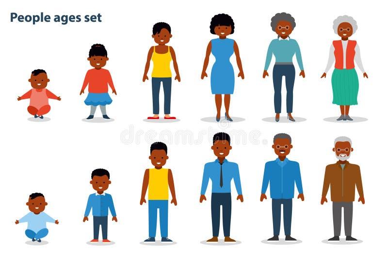Το σύνολο ανθρώπων των διαφορετικών ηλικιών στην άνοδο, από το νήπιο στον ηληκιωμένο Εθνικοί άνθρωποι αφροαμερικάνων επίπεδος ελεύθερη απεικόνιση δικαιώματος