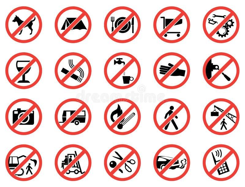 Το σύνολο απαγόρευσε τα σημάδια ελεύθερη απεικόνιση δικαιώματος