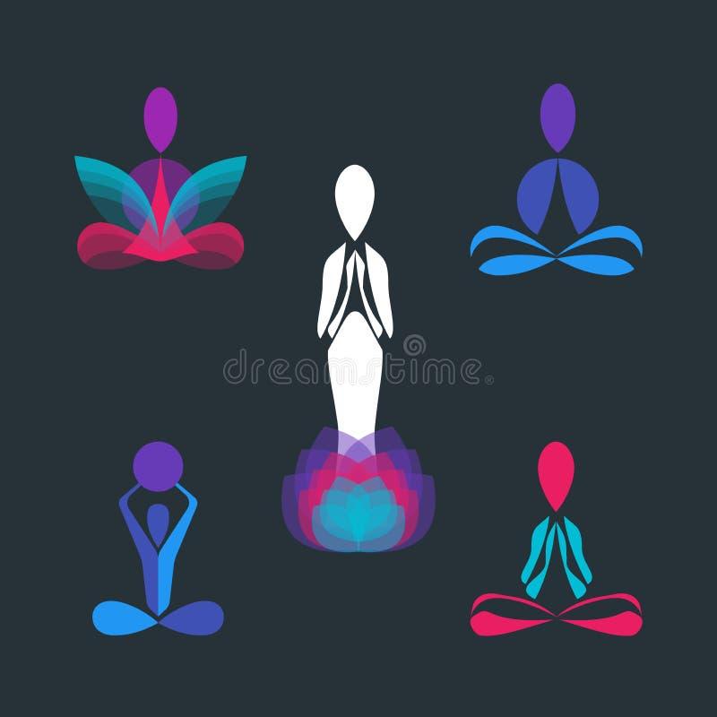Το σύνολο γιόγκας θέτει τα διανυσματικά πρότυπα σχεδίου λογότυπων και εικονιδίων απεικόνιση αποθεμάτων