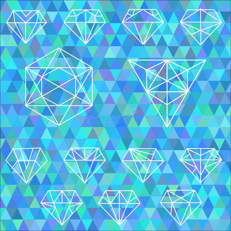 Το σύνολο γραμμικών γεωμετρικών μορφών Hexagons, τρίγωνα, κρύσταλλο διανυσματική απεικόνιση