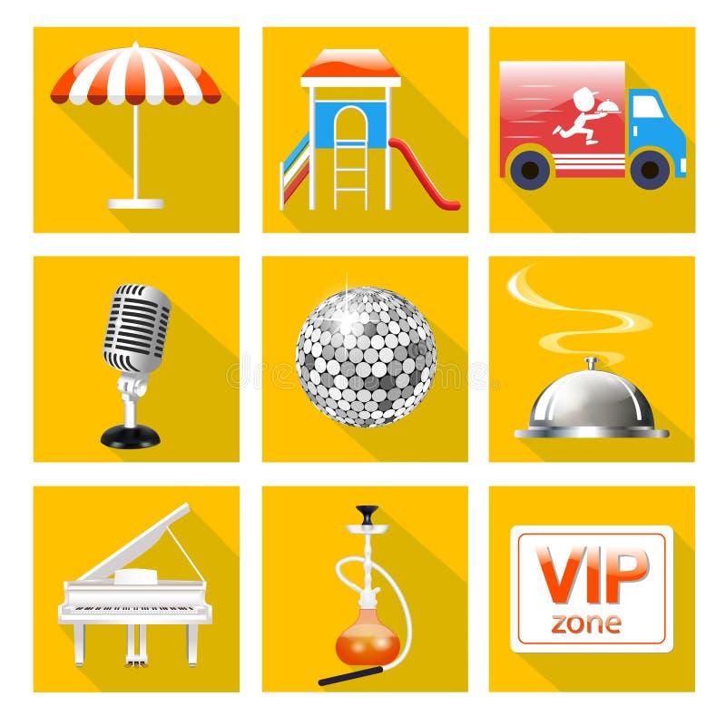 Το σύνολο εικονιδίων για την υπηρεσία του εστιατορίου είναι ένα μεγάλο πιάνο, πίστα χορού, καραόκε, απεικόνιση αποθεμάτων
