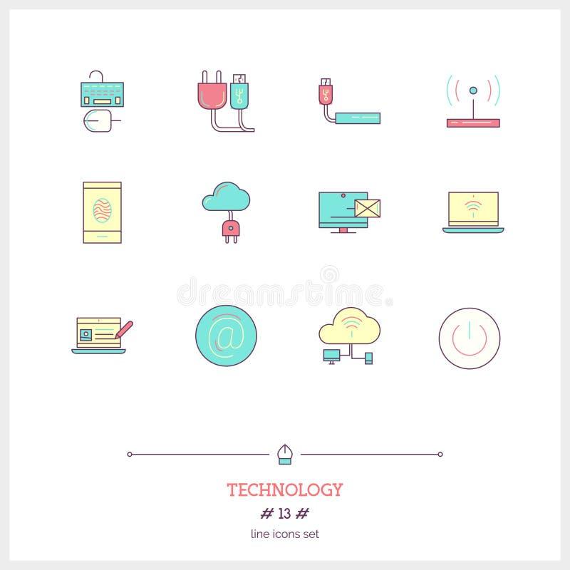 Το σύνολο εικονιδίων γραμμών χρώματος εξοπλισμού τεχνολογίας, διαδικασία, αντιτίθεται απεικόνιση αποθεμάτων