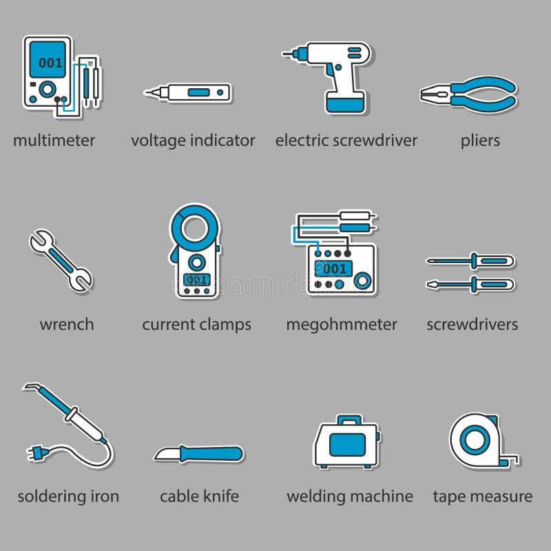 Το σύνολο εικονιδίων εργαλείων ηλεκτρολόγων διανυσματική απεικόνιση