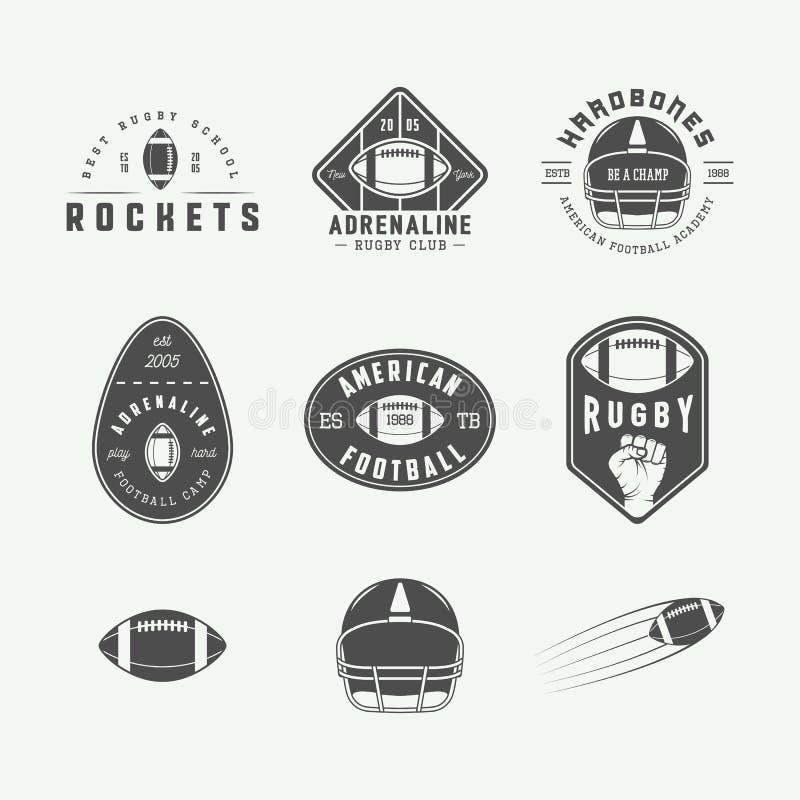 Το σύνολο εκλεκτής ποιότητας ετικετών ράγκμπι και αμερικανικού ποδοσφαίρου, συμβολίζει και λογότυπα διανυσματική απεικόνιση