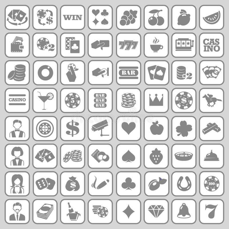Το σύνολο επίπεδων εικονιδίων χαρτοπαικτικών λεσχών απεικόνιση αποθεμάτων