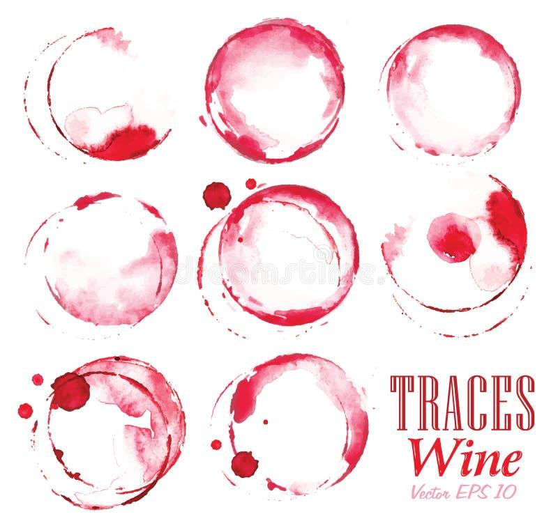 Το σύνολο επισημαίνει τα σημάδια κόκκινου κρασιού απεικόνιση αποθεμάτων