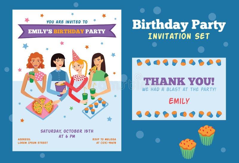 Το σύνολο διανυσματικού ιπτάμενου πρόσκλησης και ευχαριστεί εσείς λαναρίζει για τα έφηβη τη γιορτή γενεθλίων με εορτασμό τεσσάρων ελεύθερη απεικόνιση δικαιώματος