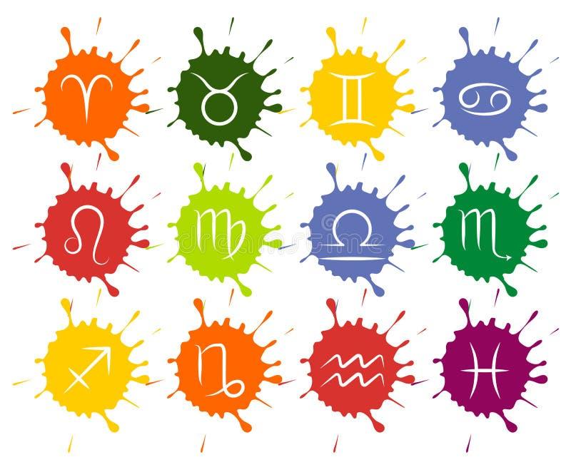 Το σύνολο διανυσματικό Zodiac υπογράφει τις ζωηρόχρωμες πτώσεις χρωμάτων ελεύθερη απεικόνιση δικαιώματος