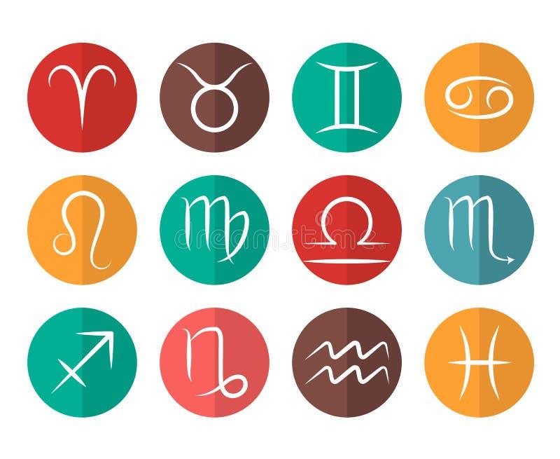 Το σύνολο διανυσματικό Zodiac υπογράφει το επίπεδο άσπρο υπόβαθρο εικονιδίων ελεύθερη απεικόνιση δικαιώματος