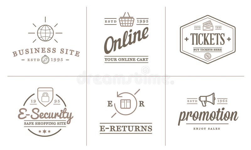 Το σύνολο διανυσματικών εικονιδίων ηλεκτρονικού εμπορίου που ψωνίζουν και μπορεί on-line να χρησιμοποιηθεί ως λογότυπο διανυσματική απεικόνιση