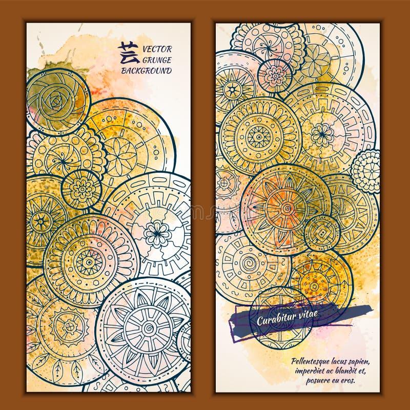 Το σύνολο διανυσματικών εμβλημάτων προτύπων με το watercolor χρωματίζει το αφηρημένο υπόβαθρο και doodle συρμένα τα χέρι mandalas ελεύθερη απεικόνιση δικαιώματος