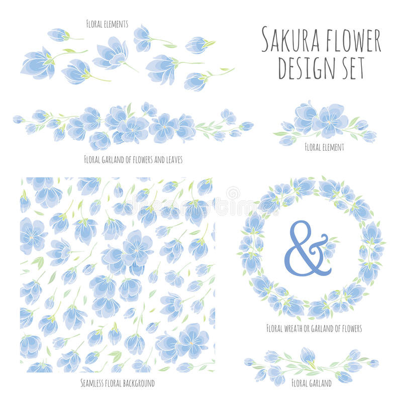Το σύνολο διανυσματικών στοιχείων σχεδίου με Sakura ανθίζει ιαπωνικό κεράσι απεικόνιση αποθεμάτων