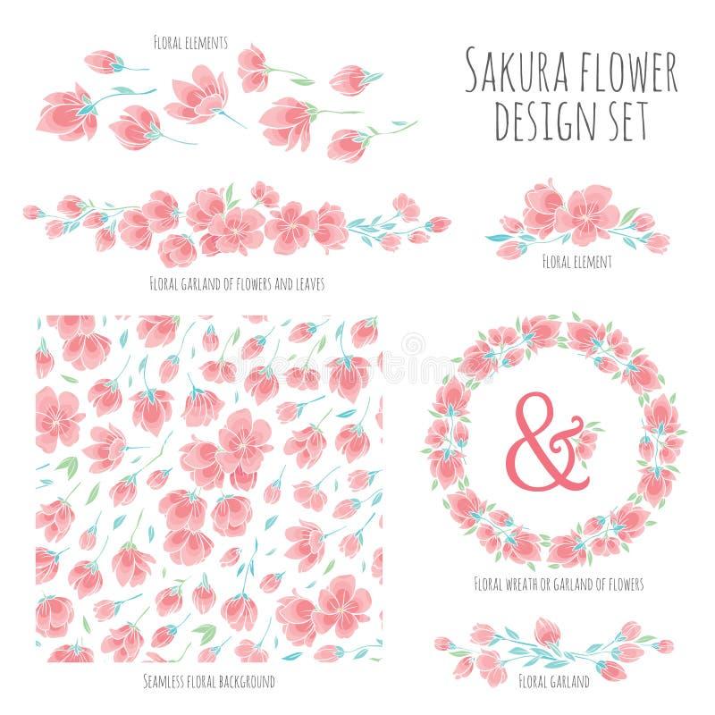 Το σύνολο διανυσματικών στοιχείων σχεδίου με Sakura ανθίζει ιαπωνικό κεράσι ελεύθερη απεικόνιση δικαιώματος