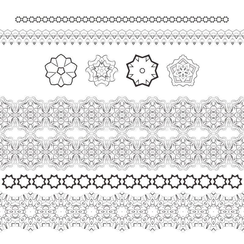 Το σύνολο διανύσματος διαμόρφωσε τα filigree χέρια και τα τυποποιημένα λουλούδια ελεύθερη απεικόνιση δικαιώματος