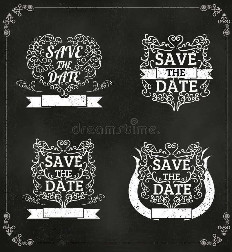 Το σύνολο διανύσματος σώζει την ημερομηνία, γαμήλια πρόσκληση εκλεκτής ποιότητας Typograp διανυσματική απεικόνιση