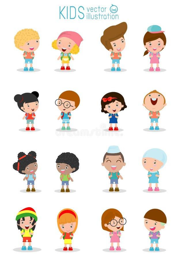Το σύνολο διαφορετικών παιδιών και διαφορετικών υπηκοοτήτων που απομονώνονται στο άσπρο υπόβαθρο, παιδιά πηγαίνει στο σχολείο, πί ελεύθερη απεικόνιση δικαιώματος